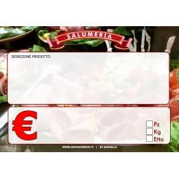 KIT 50 CARTELLINI NEUTRI SALUMERIA LINEA ECONOMICA F.TO 8X11