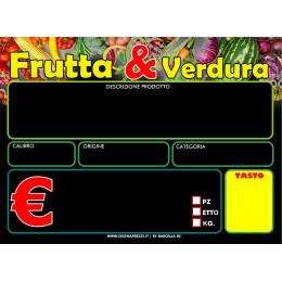 KIT 50 CARTELLINI NEUTRI ORTOFRUTTA BASE NERA F.TO 9X13,5 PVC 500 MY