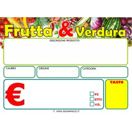 KIT 50 CARTELLINI NEUTRI ORTOFRUTTA F.TO 9X13,5 PVC