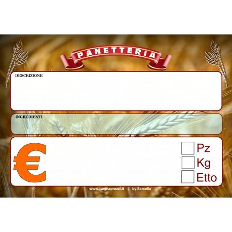NUOVO KIT 50 CARTELLINI PANETTERIA 7X10